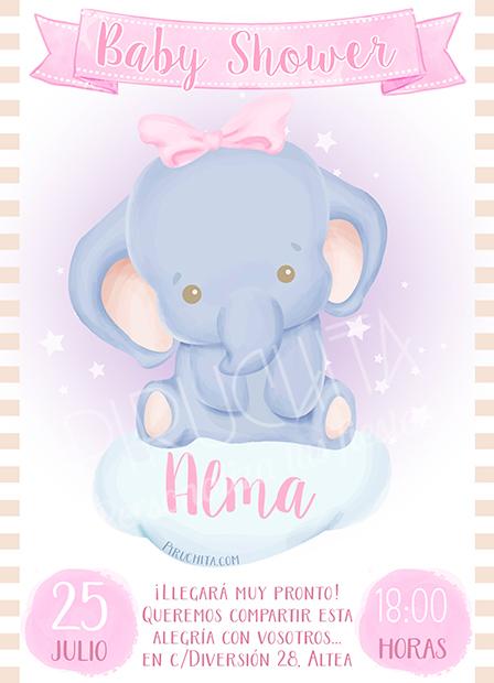 Invitación Baby Shower de Niña - Elefanta