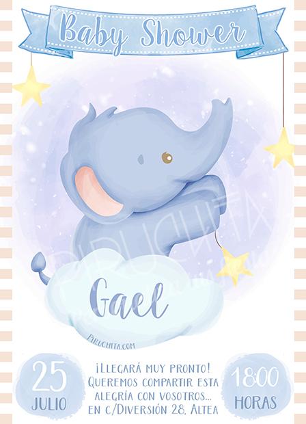 Invitación Baby Shower de niño-Elefante