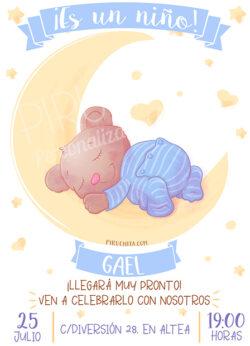 Piruchita Invitacion Baby Shower Osito Luna Tienda