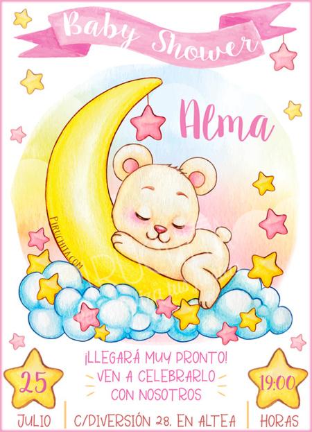 Invitación Baby Shower de Niña - Osita y estrellas