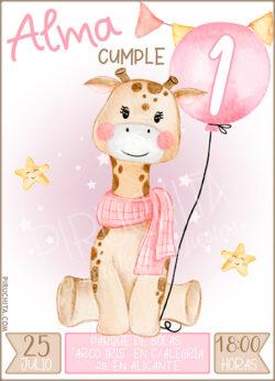 Invitación Cumpleaños de Niña - Jirafa y Globo