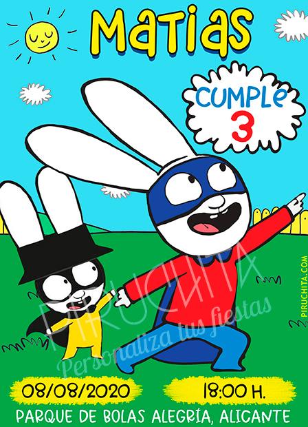 Invitación de Cumpleaños de Simon - Súper Conejo