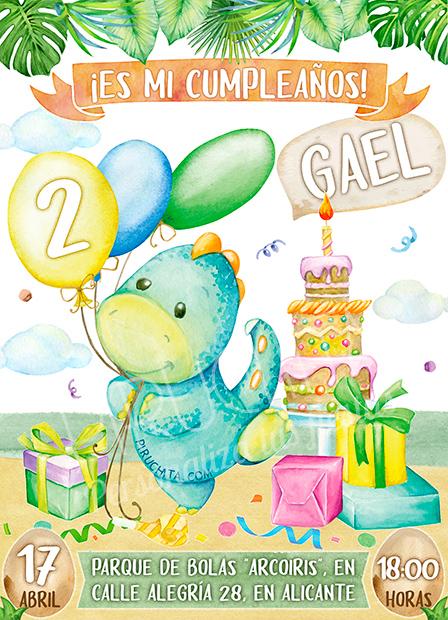 Invitación de Cumpleaños de Dinosaurio con globos