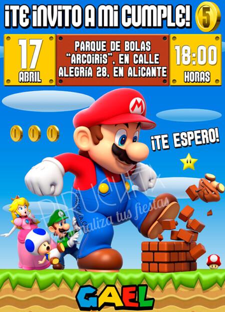 Invitación de Cumpleaños de Mario y Luigi
