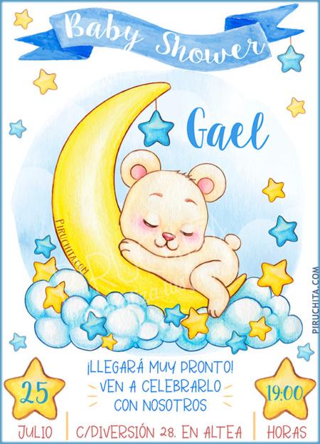 Invitación Baby Shower de Niña - Osito y estrellas