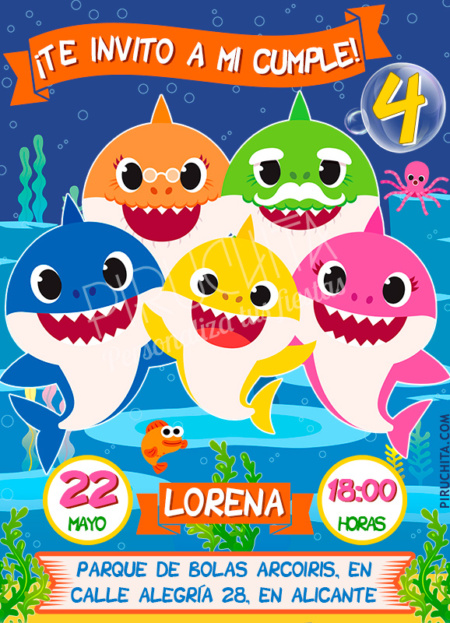Invitación de cumpleaños de Baby Shark #01