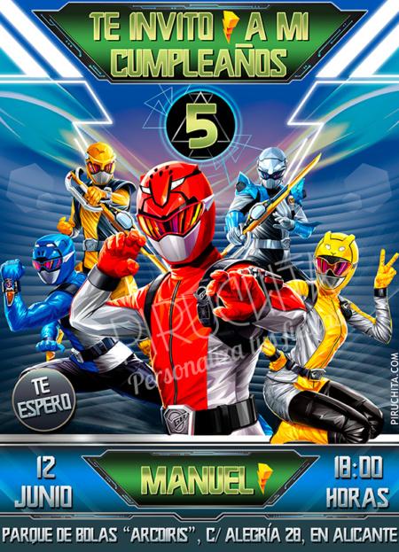 Invitación de cumpleaños de Power Rangers Beast Morphers