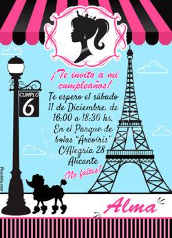 Invitación de cumpleaños Barbie Paris