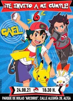 Invitación de cumpleaños de Pokemon - Ash y Go