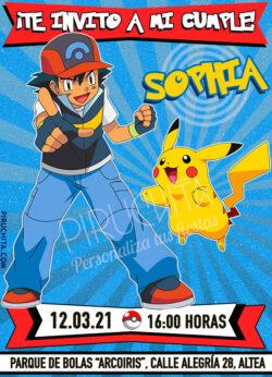 Invitación de cumpleaños de Pokemon - Ash y Pikachu