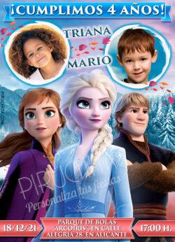 Invitación cumpleaños de Ana, Elsa y Kristoff, Frozen - con fotos