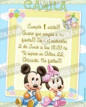 Invitación cumpleaños Mickey Baby #02-0