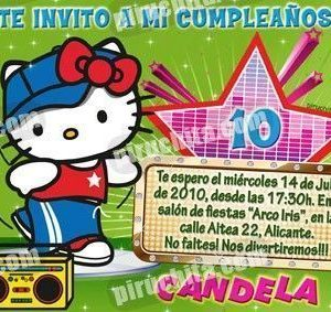 Invitación cumpleaños Hello Kitty #07-0