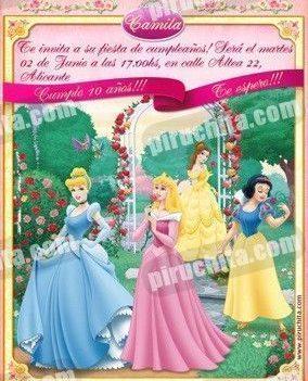 Invitación cumpleaños Princesas Disney #10-0
