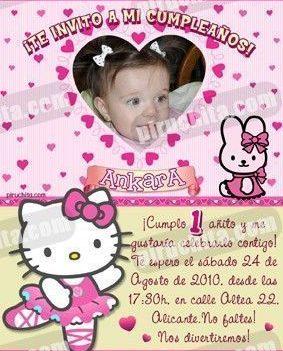 Invitación cumpleaños Hello Kitty #02-0