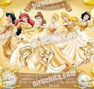Invitación cumpleaños Princesas Disney Doradas #03-0