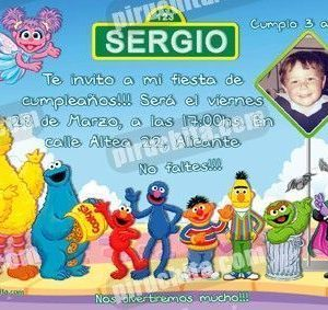 Invitación cumpleaños Barrio Sesamo #4-0