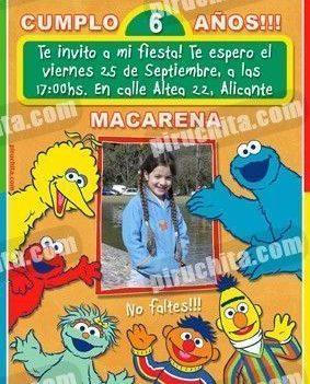 Invitación cumpleaños Barrio Sesamo #5-0