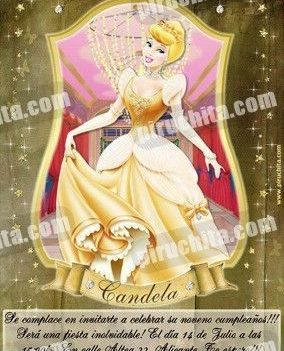 Invitación cumpleaños Princesas Disney Doradas #07-0