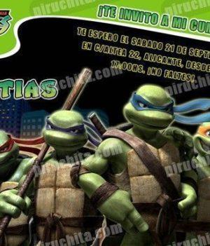 Invitación cumpleaños Tortugas Ninja #01-0