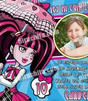 Invitación cumpleaños Monsters High #04-0