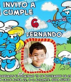 Invitación cumpleaños Los Pitufos #02-0