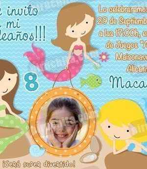Invitación cumpleaños Sirenas #03-0