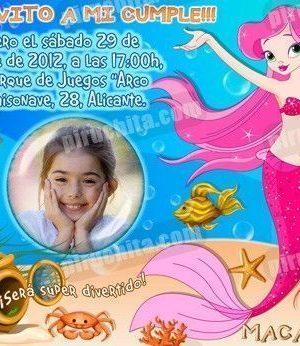 Invitación cumpleaños Sirenas #06-0