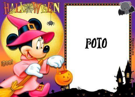 Marco para foto de Halloween con Minnie Mouse gratis