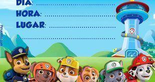 Invitación de cumpleaños de Patrulla Canina gratis