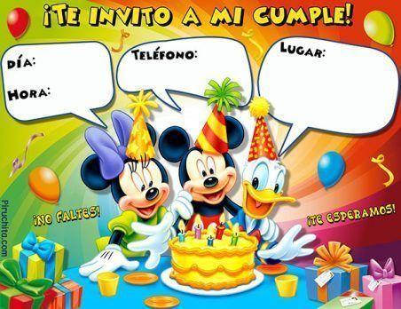 Invitaciones de cumpleaños Mickey Mouse y sus amigos gratis
