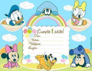 Invitaciones de primer cumpleaños Mickey Mouse Baby