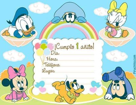 Invitaciones de primer cumpleaños Mickey Mouse Baby gratis